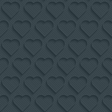Dark perforated paper with outline extrude effect. 3d seamless wallpaper. Vector background EPS10. Illustration