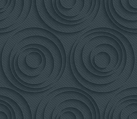 extrude: Dark perforated paper with outline extrude effect. 3d seamless wallpaper. Vector background