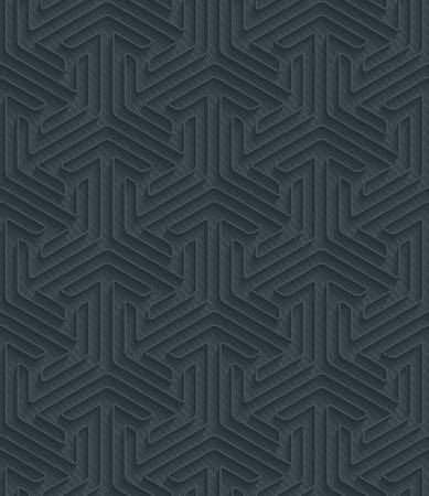 Dark perforated paper with outline extrude effect. 3d seamless wallpaper. Vector background EPS10. Vector