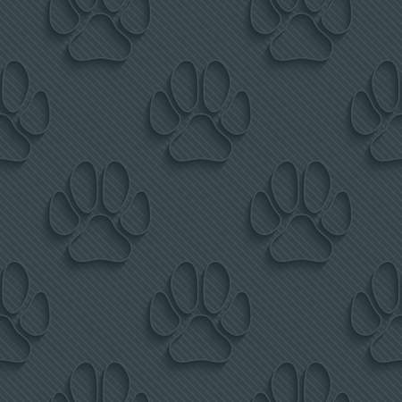 dog outline: Dark perforated paper with outline extrude effect. 3d seamless wallpaper. Vector background EPS10. Illustration