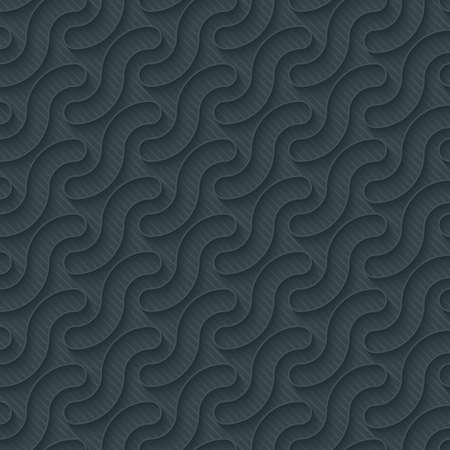 Dark perforated paper with outline extrude effect. 3d seamless wallpaper. Vector background