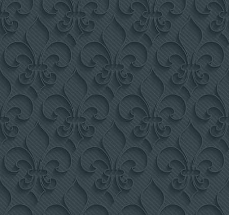 lys: Dark perforated paper with outline extrude effect. 3d seamless wallpaper. Vector background