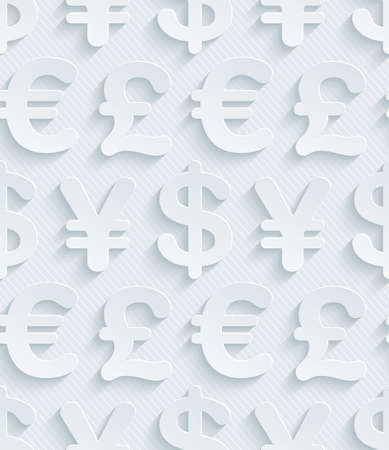 Light gray currency symbols wallpaper. 3d seamless background. Vector EPS10.