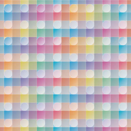 overlap: Overlap and transparent circles and squares. Colorful seamless background. Vector EPS10 tileable pattern.