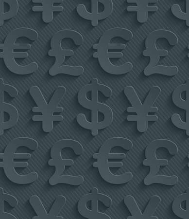 global currencies: Dark gray currency symbols wallpaper. 3d seamless background. Vector EPS10.