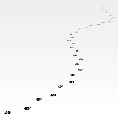 Trace of dog leading far away. Editable Vector EPS8. Stock Photo