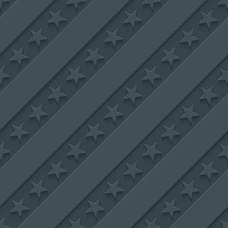 stripes seamless: Dark gray stars and stripes wallpaper. 3d seamless background. Vector EPS10. Stock Photo