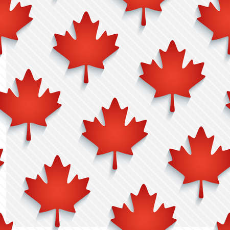 Red maple leaves wallpaper. 3d seamless background. Vector.