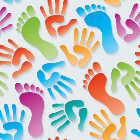 handprints: Multicolor Handprints & footprints wallpaper. 3d seamless background. Vector.