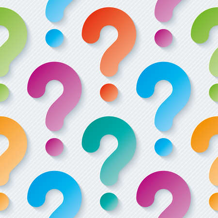 Multicolor question marks with cut out effect. 3d seamless background. Vector.