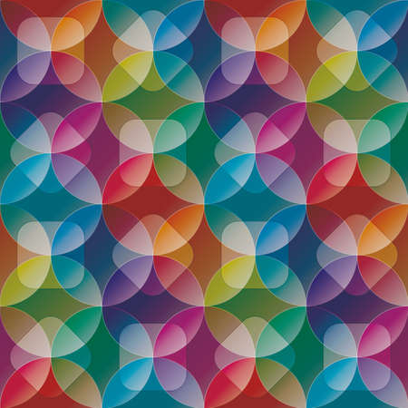 overlap: Overlap and transparent circles and squares. Colorful seamless background. Vector tileable pattern.