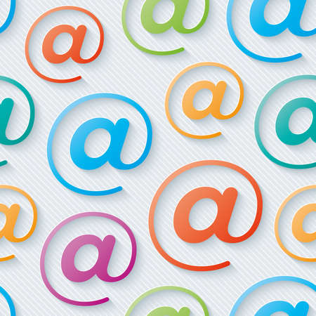 junk mail: Colorful e-mail wallpaper. Seamless background with 3D effect. Vector.