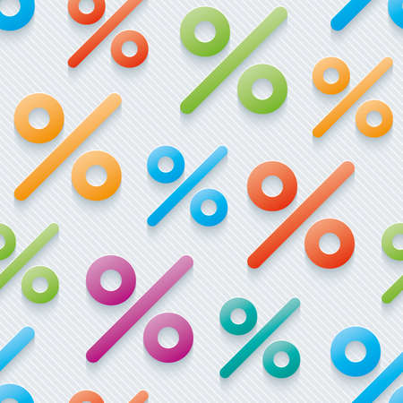 Multicolor percent symbols wallpaper. 3d seamless background. Vector. Illustration