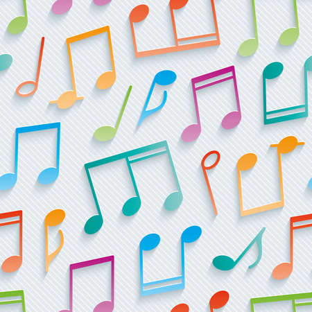 notation: Multicolor musical wallpaper. 3d seamless background. Vector.