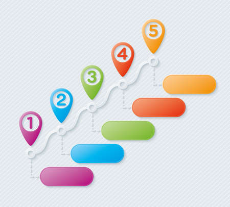 Map pointers steps infographic. Vector. Vettoriali