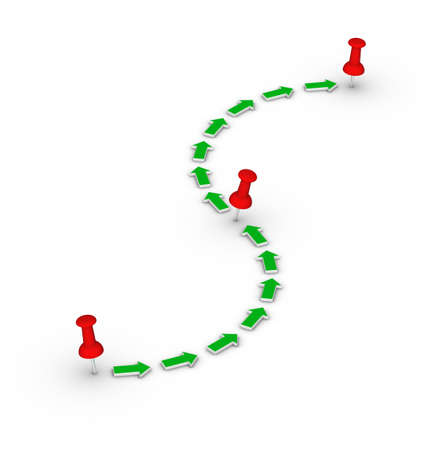 trasa s červenými připínáčky a zelenými šipkami