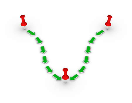 green arrows: travel route with red thumbtacks and green arrows Stock Photo