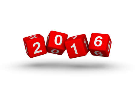 turns of the year: Happy New Year 2016. Falling cubes.
