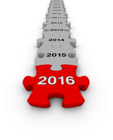 red puzzle piece: Happy New Year 2016. Jigsaw puzzle timeline. Stock Photo