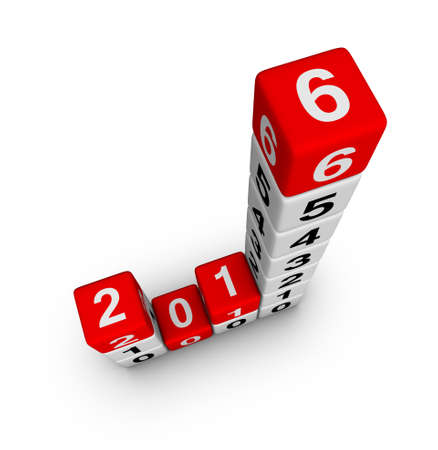 turns of the year: Happy New Year 2016. Cubes Diagram.