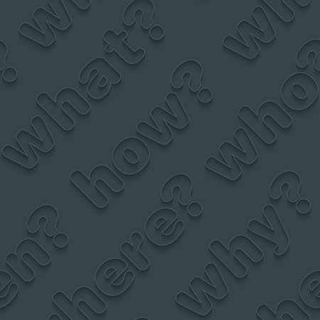 wiki: Question words walpaper. 3d seamless background. Vector EPS10. Illustration