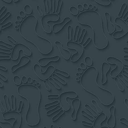 handprints: Handprints footprints wallpaper. 3d seamless background. Vector EPS10.