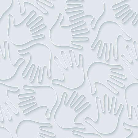imprint: Handprints wallpaper. 3d seamless background. Vector EPS10.