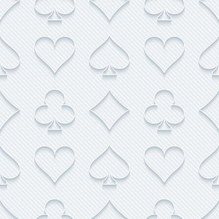 ace of clubs: Light perforated paper with cut out effect. 3d card symbol seamless background. Vector EPS10.