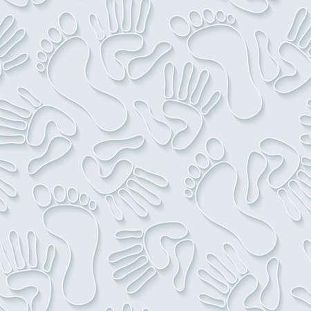 handprints: Handprints & footprints wallpaper. 3d seamless background. Vector EPS10.