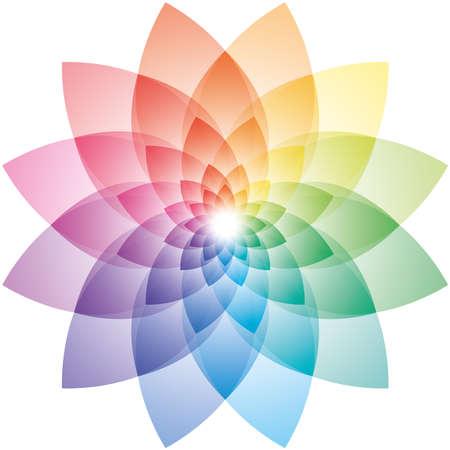 kaleidoscope: Beautiful Lotus Flower Color Wheel. Vector EPS10.