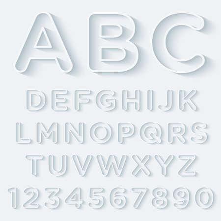3D contour Met Schaduw Alphabet Set. Vector EPS10. Stock Illustratie