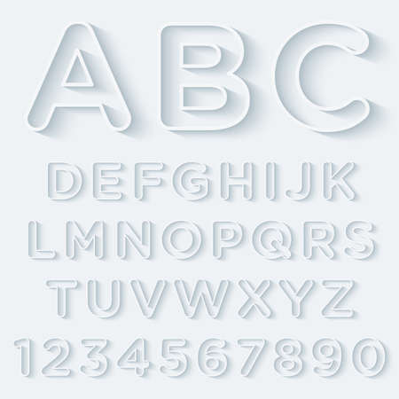paper cut out: 3D Outline With Shadow Alphabet Set. Vector EPS10.