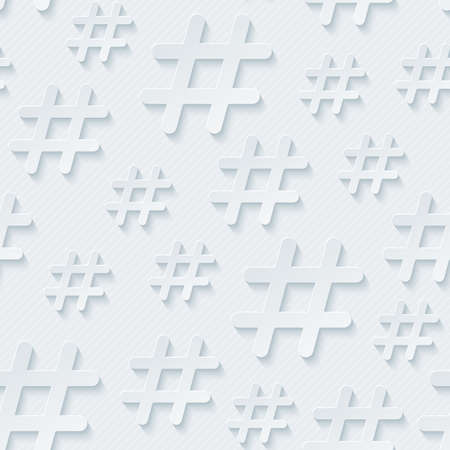 hash: Hash tag seamless 3d pattern. Vector EPS10.
