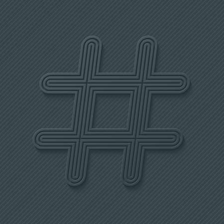 hash: Hash tag outline symbol. Vector EPS10. Illustration