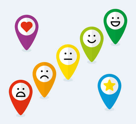Set of map pointers with feedback emoticons in flat style
