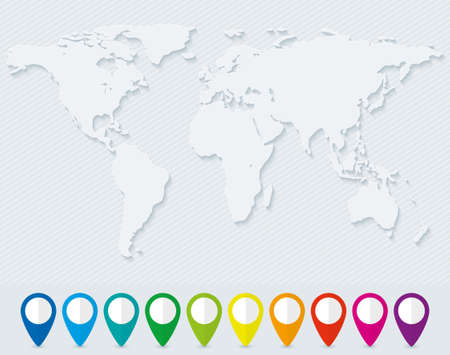map pin: Blank world map and set of colorful map pointers