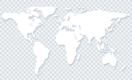 透明な背景に影と白い世界地図。ベクトル EPS10
