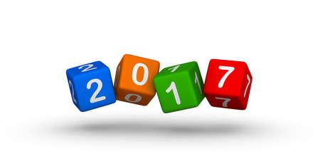 Feliz Año Nuevo 2017. Cubos que caen. Foto de archivo