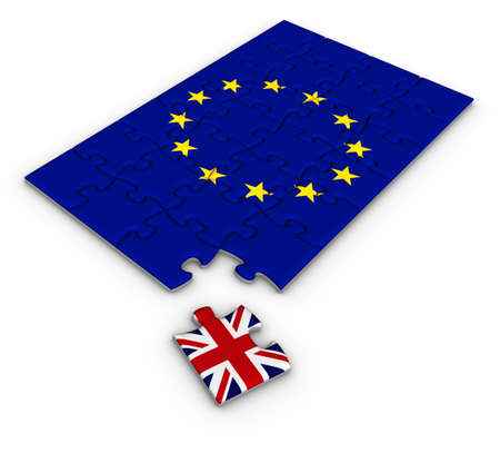england politics: Jigsaw puzzle with the national flag of Great Britain and European Union. Brexit concept. 3D illustration.