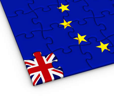 withdrawal: Jigsaw puzzle with the national flag of Great Britain and European Union. Brexit concept. 3D illustration.