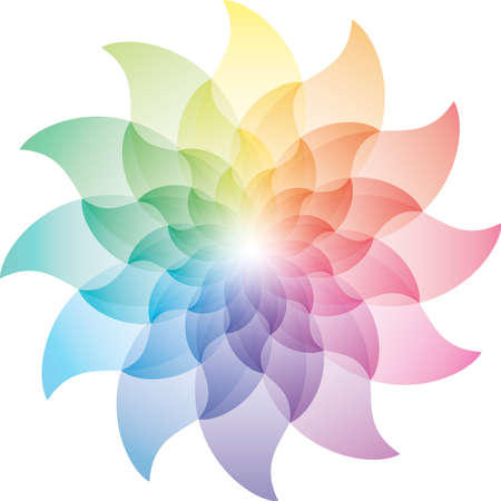 fire flower: Beautiful Lotus Flower Color Wheel Icon. Stock Photo