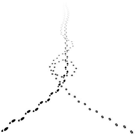huella pie: pistas del ser humano y del perro a caminar. Ilustración de retroceso huellas con copia espacio. Ilustración de EPS10. Vectores