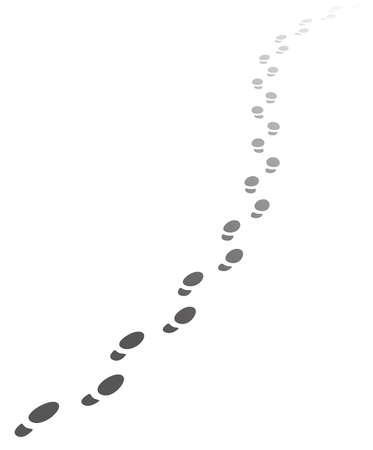 depart: Foot steps walking away.Vector illustration of receding human footprints with copy space. Vector EPS10.
