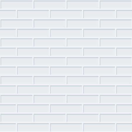 perforated: White bricks wall seamless background. Neutral tileable pattern of brickwall. Vector EPS10.