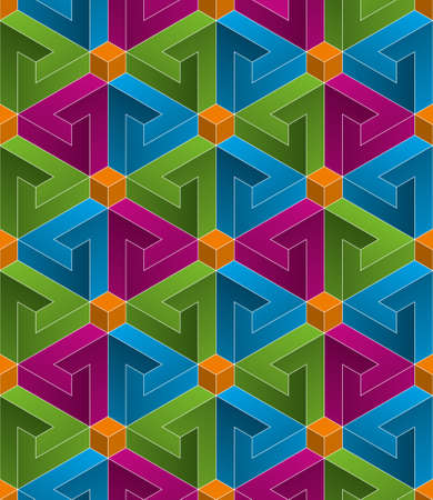 Multicolor Isometric Seamless Pattern. 3D Optical Illusion Background Texture. Editable Vector EPS10 Illustration.