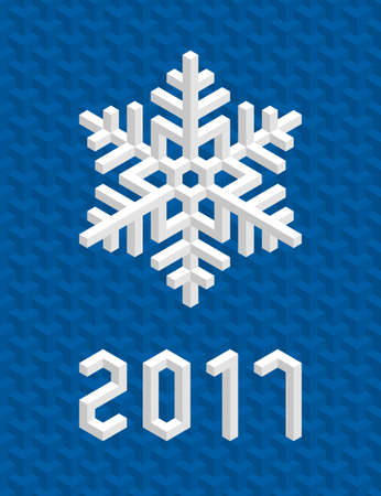 Christmas Card with White Isometric 3D Snowflake on Christmas Blue Background. Editable Vector EPS10 Illustration for New Year Decoration 2017.