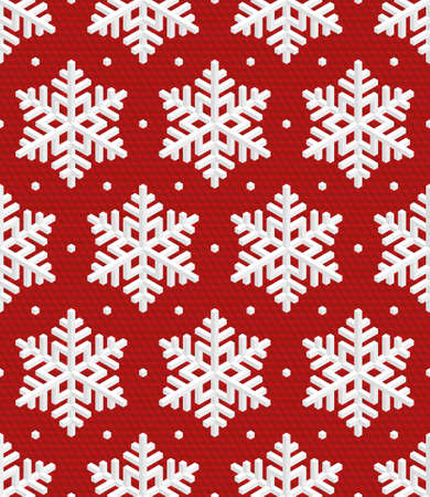 escher: Traditional Christmas Seamless Pattern with White Isometric 3D Snowflakes on wine red background. Editable Vector EPS10 Illustration for New Year Decoration. Illustration