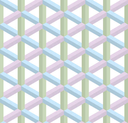 escher: Isometric Seamless Pattern in pastel shades. 3D Optical Illusion Background Texture. Editable Vector EPS10 Illustration.