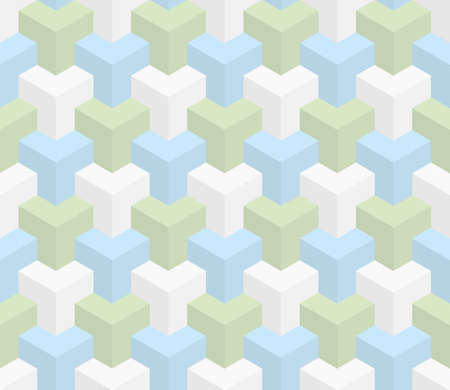 pastel colors: Isometric Seamless Pattern in pastel shades. 3D Optical Illusion Background Texture. Editable Vector EPS10 Illustration.