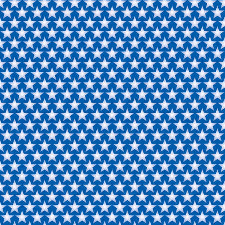Patriotic Seamless Pattern of White Stars on Blue Backdrop. Tileable vector background.